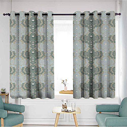 Beihai1Sun Living Room/Bedroom Window Curtains,Floral,Abstract Art Damask Desgin Floral Ornament Background Wallpaper Pattern Print,Blue and Taupe,Hipster Patterned,W72x45L