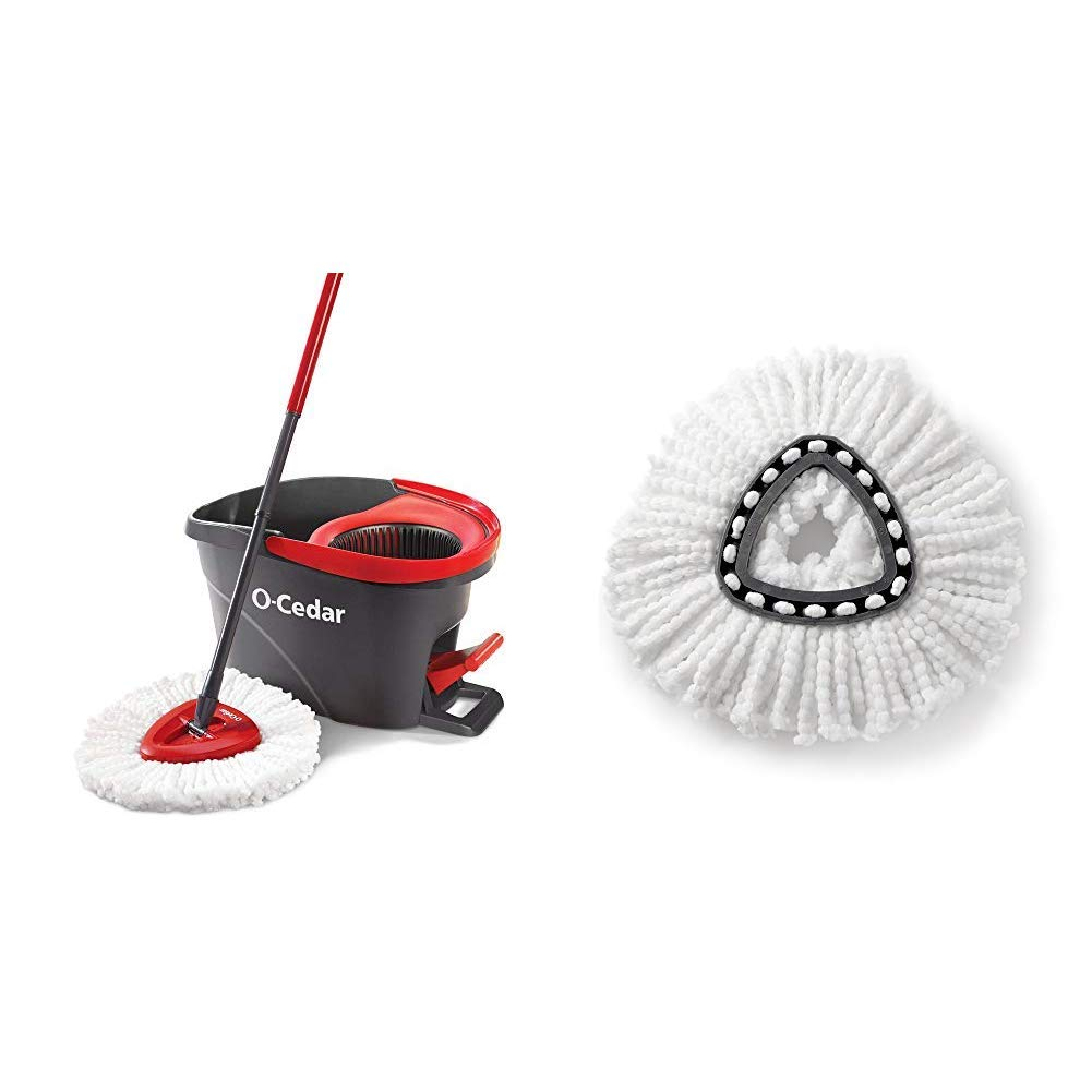 O-Cedar EasyWring Microfiber Spin Mop, Bucket Floor Cleaning System &  EasyWring Spin Mop Refill