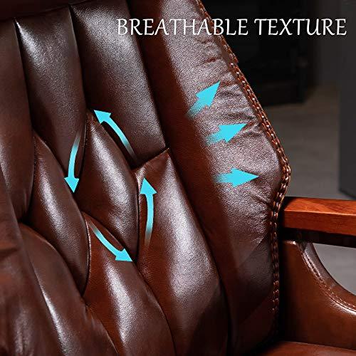 LYJBD Executive kommersiell svängbar stol, chef kontor däckstol, PU-läder verkställande skrivbordsstol, lutningsjusterbar stol hög rygg kontorsstol
