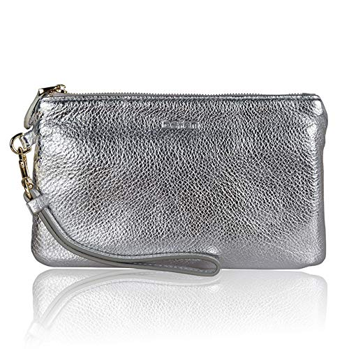 Befen Women Genuine Leather Clutch Wallet Smartphone Wristlet Purse - Silver