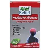 Amazon com: Real Relief Headache & Migraine 90 Chewable Tablets