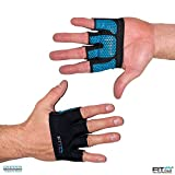 The Gripper Glove | Fit Four Callus Guard Fitness Gloves for WODs, Weightlifting & Cross Training Athletes - Enhanced Silicone Grip Palm (Blue, Small)