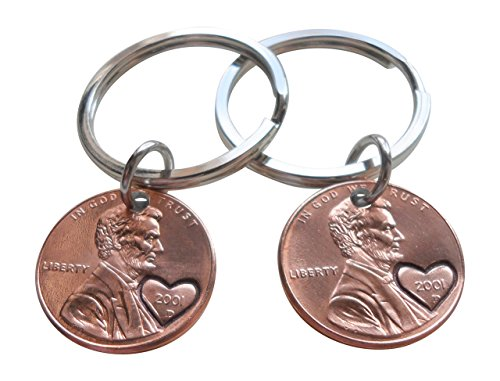 Double Keychain Set 2001 Penny Keychains With Heart Around Year; 18 year Anniversary Gift, Engraved Couples Keychain
