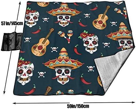 GuyIvan Coperta da Picnic Messicano Sugar Skull Day of Dead Sandproof Beach Mat Tote per Campeggio Escursionismo Erba Viaggiare 145X150cm