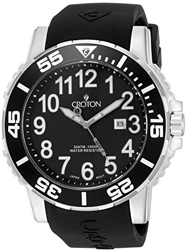 CROTON Men's CA301280BSBK Analog Display Quartz Black Watch (Croton Bezel Crystal)