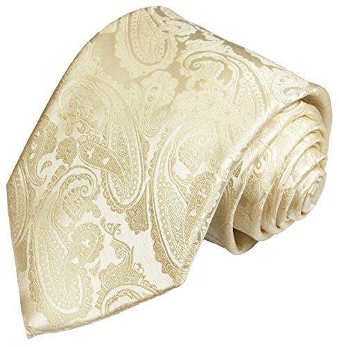 Paul Malone Cravate de mariage motif cachemire Champagne