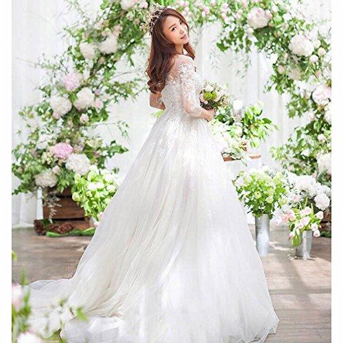 Sposa Qi UN Sottile Abito Maniche CXY Taglia Sposa Più Abito a Lunghe XL Sposato da Spalle da wqZFEg0