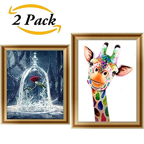 2 Packs 5D DIY Diamond Painting Set,Full Drill Diamond Painting,Embroidery Rhinestone Cross Stitch Arts Craft Supply,Rose and Giraffe Wall Stickers For Home Wall Decor(12X12inch&12X16inch) (Rose Supplies Art)