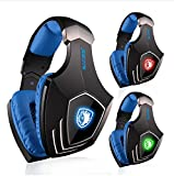 PC Gaming Headset, SADES A60 Virtual 7.1 Surround Sound Gaming Headphone with Microphone USB Over-ear Headphone LED Light Vibration