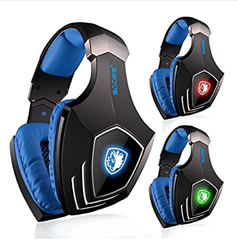 PC Gaming Headset, SADES A60 Virtual 7.1 Surround Sound Gaming Headphone with Microphone USB Over-ear Headphone LED Light - Xbox 360 Usb Headset