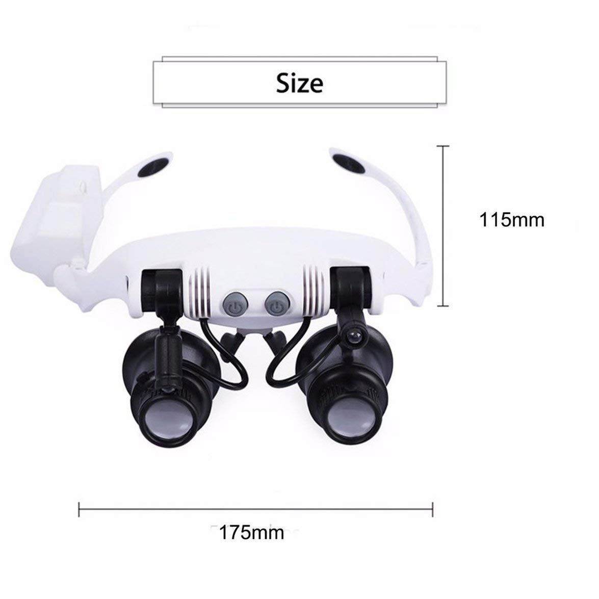 Pandamama Lightweight Foldable Headband Design Binoculars Magnifier Glasses LED Magnifying Glass with 2 LED Light for Jewelry Repair
