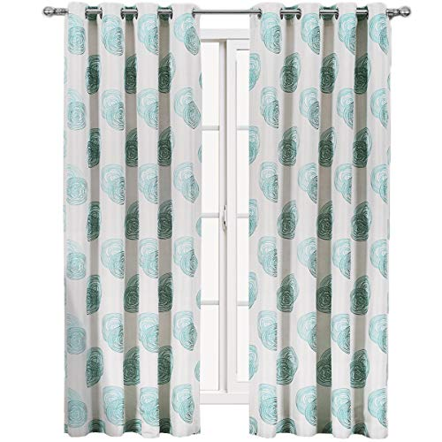 Royal Tradition Lafayette 108-Inch Wide x 63-Inch Long, Set of 2, Jacquard Grommet Window Curtains, Blue