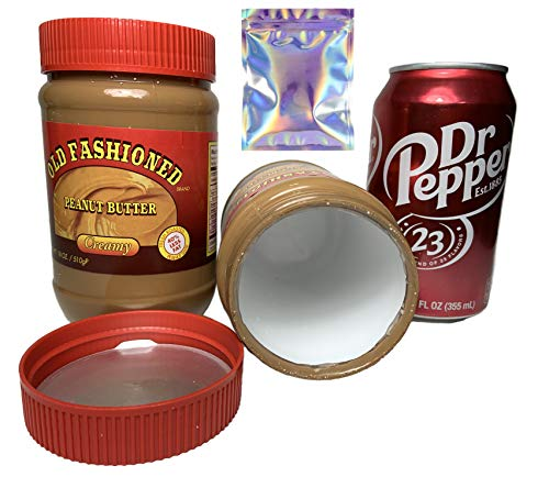 Stash Safes Diversion Secret Safe Peanut Butter with Dr Pepper Soda Can Container to Hide Money Jewelry Stuff Plus Free Smell Proof Bag