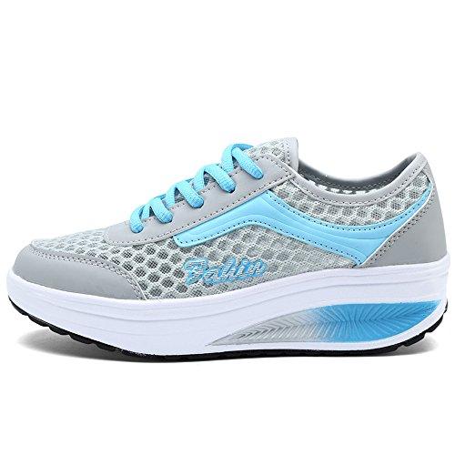 EnllerviiD Damen Sneaker Atmungsaktiv Mesh-oberfläche Schuhe Laufschuhe Plateau Freizeitsschuhe Grau-Blau 36