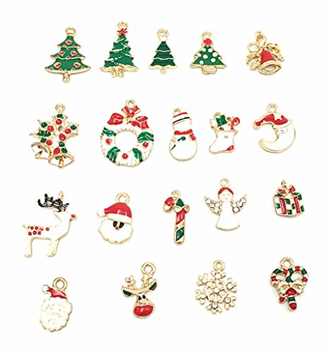 DIB 19pcs Enamel Gold Toned Christmas Charms Pendant for Crafting, Rhinestone Inlaying Pendant for DIY Jewelry Making Xmas Decorative Accessories -