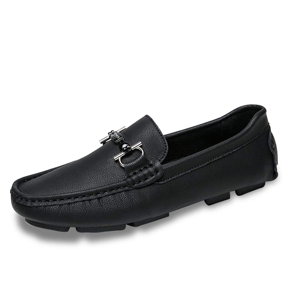 Gobling Summer Loafer for Men, Non-Slip Stylish Pure Color Flat Moccasins Cozy Leather Lightweight Casual Driving Boat Shoes (Color : Black, Size : 8.5 M US)