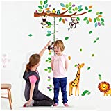 Leemall Chart Height Measurement Growth Chart Tree Monkeys and Animals Nursery Wall Decals Stickers Wall Decal Decor Sticker Removable r for Nursery Playroom Girls and Boys Children's Bedroom Picture