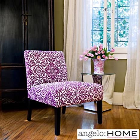 Amazon.com: Angelo:home Bradstreet Modern Damask Provence Purple  Upholstered Armless Chair: Kitchen U0026 Dining