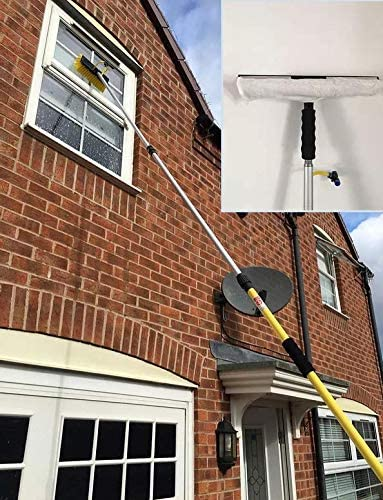 12FT Water//Hose Fed Window Cleaner Brush Window Cleaning Squeegee Attachment