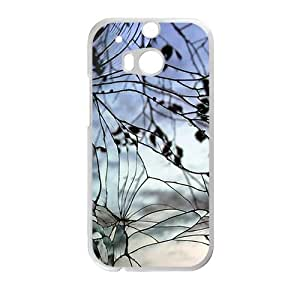 Cracked Glass With Branch Fashion Personalized Clear Cell Phone Case For HTC M8