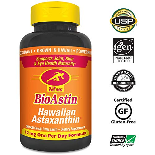 BioAstin Hawaiian Astaxanthin 12mg, 50ct - Supports Recovery from Exercise + Joint, Skin, Eye Health Naturally - 100% Hawaiian Sourced Premium Antioxidant (Foods 120 Caps)
