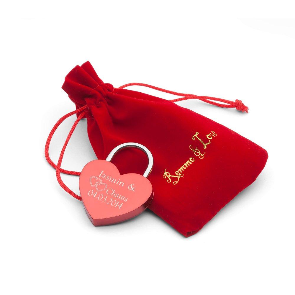 Remmo&Love Herz ROT in BEUTEL Liebesschloss mit Wunsch Gravur Jahrestag Geburtstag Hochzeit Valentinstag Weihnachten Romantisches persö nliches Geschenk Tolle Edel Luxus Herzform Herz Schloss