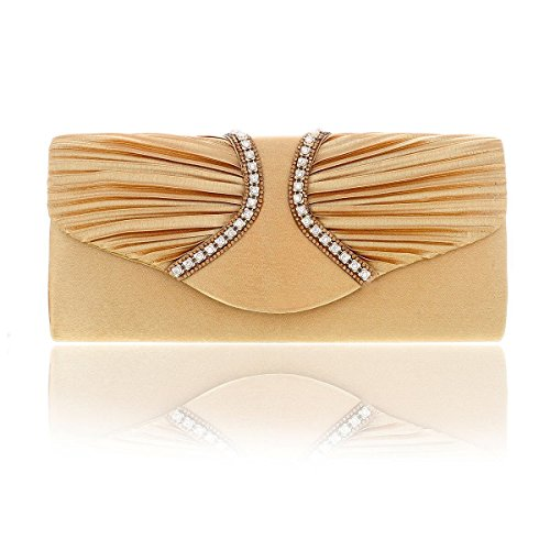 Crystal Womens Line Flap Pleated Contrast Gold Evening Damara Bag qOzw45x4p
