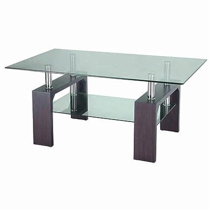Attirant Metal Frame Glass Shelves Coffee Table Living Room Tempered Top Rectangle  Modern Corners Indoor Furniture U0026
