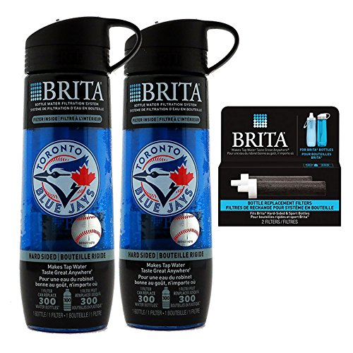 2 x Brita Hard Sided Bottles - print Blue Jays & 1 Pack/2 Filters