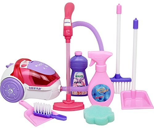 Click N' Play Toy Realistic Vacuum Cleaner, and House Keeping 8 Piece Play Set with Accessories - Perfect for 18 inch American Girl Dolls by Click N' Play