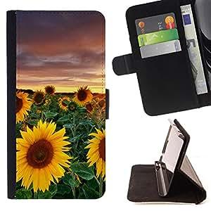 - Sunflower Sun flower - - Monedero PU titular de la tarjeta de cr?dito de cuero cubierta de la caja de la bolsa FOR Sony Xperia M2 Retro Candy