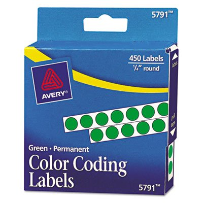 Avery Products - Avery - Permanent Self-Adhesive Color-Coding Labels, 1/4in dia, Green, 450/Pack - Sold As 1 Pack - For reliable cover-ups and lasting IDs. - Ideal for price marking, -