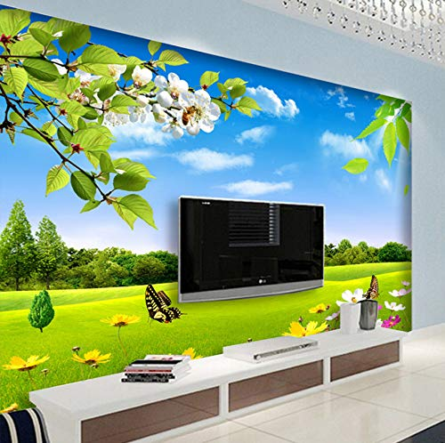3D Wallpaper Murals Wall Stickers Decorations Blue Sky White Meadow Flower Nature Beauty Living Room Sofa Background Art Girls Tv (W)400X(H)280Cm