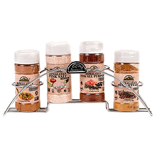 Himalayan Chef 4 Piece Pink salt and Seasoning Plastic Shaker With Standing Chrome Rack, Silver ()