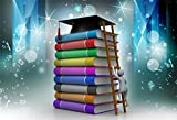 AOFOTO 8x6ft Climbing Book Backdrop Graduation Cap Ladder Photography Background Academic Hat MBA Business School Education College Study Success Photo Studio Props Student Teacher Man Adult Wallpaper