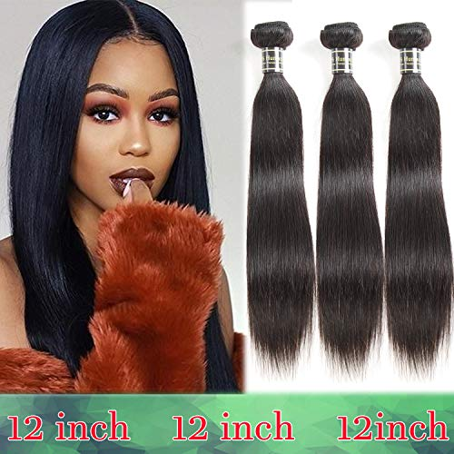 Fastyle Hair Brazilian Virgin Hair 3 Bundles Straight Human Hair Weaves 100% Unprocessed Brazilian Straight Hair 10A Grade 3 Extensions Natural Color(12 12 12 Inches) from Fastyle Hair