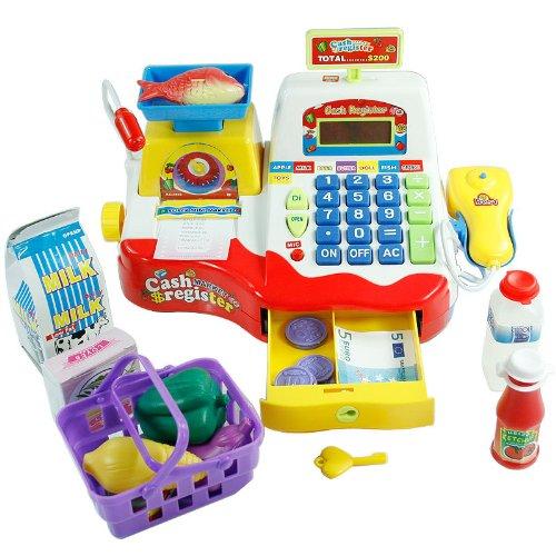 Kids Toy Supermarket Till, Cash Register, Shop Till - (Red)