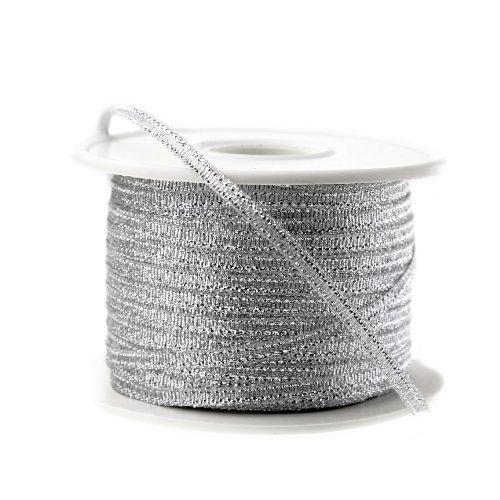 (Nylon Taffeta Metallic Ribbon, 100 Yards, 1/8-inch - Silver)