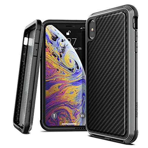 Carbon Fiber Hard Case - X-Doria Defense Lux Series, iPhone Xs Max Case - Military Grade Drop Tested, Anodized Aluminum, TPU, and Polycarbonate Protective Case for Apple iPhone Xs Max, 6.5