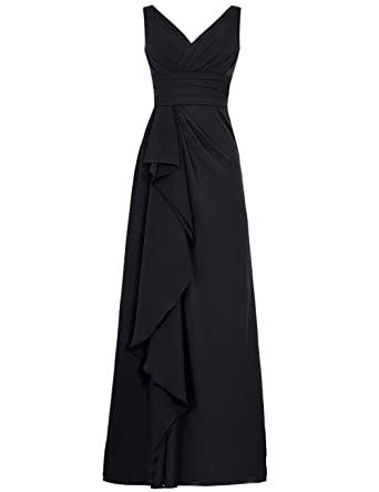 Cdress Long Bridesmaid Dresses Chiffon V-Neck Prom Dress Ruffled Maxi Evening Gowns Black US