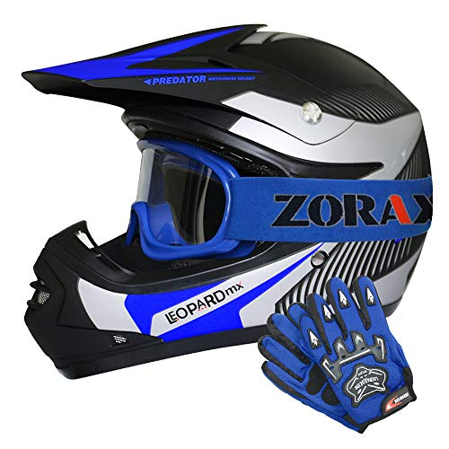 Leopard LEO-X19 Blau Kinder Motorrad Helm S(49-50cm) + Handschuhe S-5cm + Zorax Brille Kinder Motorradhelm Full Face MX…