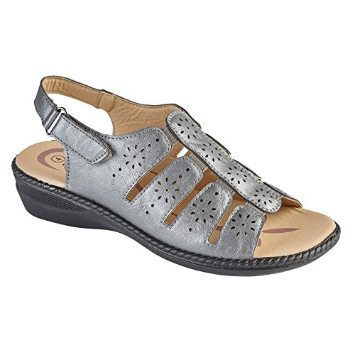 Freedom in Shoe Pewter Back Size 8 amp; 6 Open Sandal Toe Front Heel Womens Tree 7 5 3 Sling Elasticated Pewter 4 Low Summer Black Wedge qqwEA