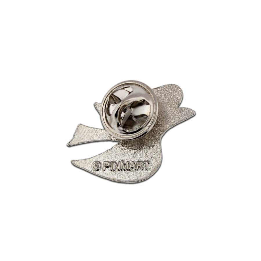 PinMart Elegant Silver Plated 3D Dove Hope and Peace Lapel Pin