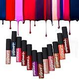 Hunputa Set of 12 Colors Madly MATTE Lipgloss Bold & Vivid Color Matte Lipgloss Set (12 Different Colors)