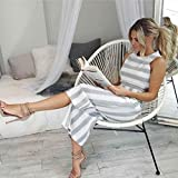 Womens Off Shoulder Jumpsuits,Jushye Ladies Sleeveless Striped Jumpsuit Casual Clubwear Wide Leg Pants Outfit Playsuit Romper (L, White)