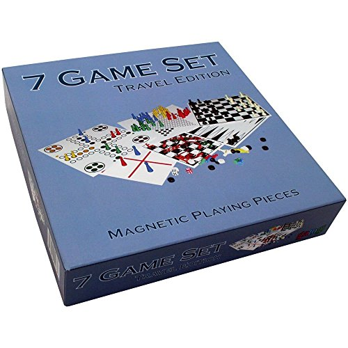 Kathleen Blue 7 Combo Classic Board Game Set with Magnetic Pieces - Tic-tac-toe, Checkers, Backgammon, Chess, Snakes and Ladders, Chinese Checkers, Ludo - 7.5 Inch