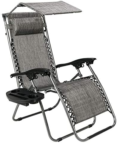 COLIBROX Chairs w/Canopy Recliner Sunshade Zero Gravity Folding Patio Lounge Beach Outdoor Cup Holder Camping Gray 25.3″ L x 5.3″ W x 36.8″ H