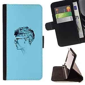 Momo Phone Case / Flip Funda de Cuero Case Cover - Azul Cabeza de Guy;;;;;;;; - Samsung Galaxy J3 GSM-J300