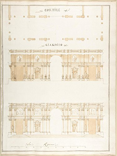 Historic Pictoric Fine Art Print   Pietro Paolo Coccetti (Cocchetti)   Plan, Section and Exterior Elevation of a Villa   Vintage Wall Art   16in x ()