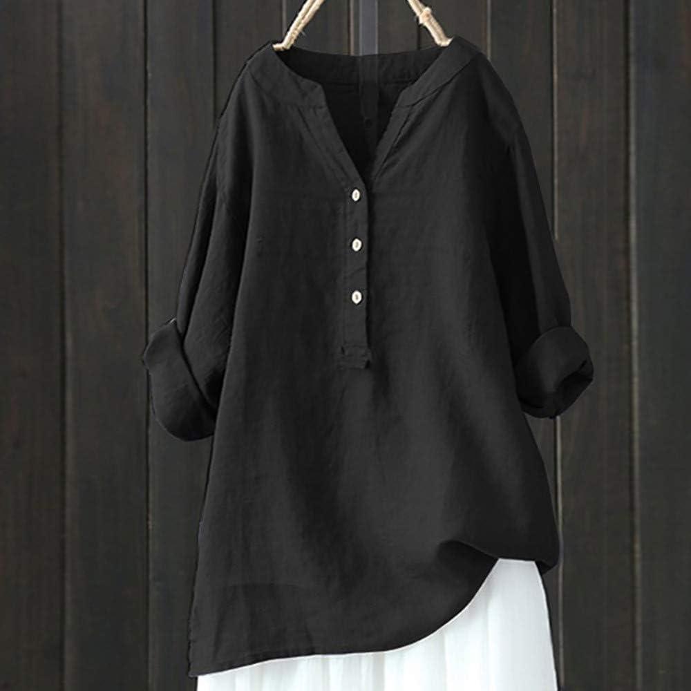 TIMEMEAN Summer Batwing Cotton Linen Tops for Women Plus Size